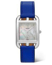 Hermès Cape Cod 23 Mm Kleine Uhr Aus Edelstahl Mit Perlmutt, Diamanten Und Lederarmband - Mettallic