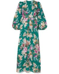 Zimmermann Allia Floral Print Linen Dress - Green
