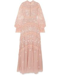 Needle & Thread Ava Lace-trimmed Embellished Tulle Gown - Pink