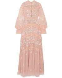 Needle & Thread Ava Robe Aus Verziertem Tüll Mit Spitzenbesatz - Pink