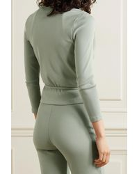 Skin + Net Sustain Isabel Ribbed Stretch-organic Pima Cotton Jersey Wrap Top - Green