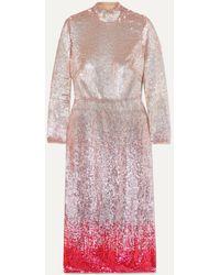Temperley London Opia Open-back Dégradé Sequined Crepe Midi Dress - Pink