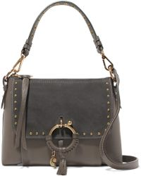 See By Chloé - Joan Small Studded Suede-paneled Textured-leather Shoulder Bag - Lyst
