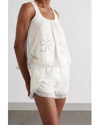 Morgan Lane Pyjama Aus Biobaumwolle Mit Spitzenbesätzen Und Schleife - Weiß