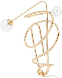 Hillier Bartley - Gold-plated Faux Pearl Earring - Lyst
