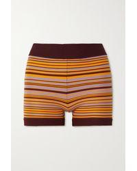 Nagnata Lucid Shorts Aus Gestreifter Stretch-biobaumwolle - Orange