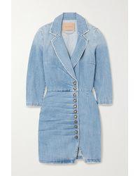 retroféte Willa Ruched Denim Mini Dress - Blue