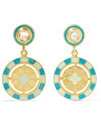 Amrapali - 18-karat Gold, Enamel And Diamond Earrings - Lyst