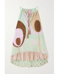 Yvonne S Lollipop Tasseled Printed Cotton-voile Mini Dress - Blue