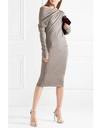 Tom Ford One-shoulder Cashmere And Silk-blend Midi Dress - Grey