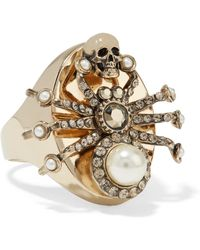 Alexander McQueen - Gold-plated, Swarovski Crystal And Faux Pearl Ring Gold 13 - Lyst