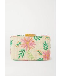 Kayu Claire Embroidered Straw Clutch - Pink