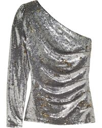 Maje - One-shoulder Sequined Mesh Top - Lyst