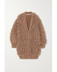 Stella McCartney Cardigan En Laine À Franges - Marron