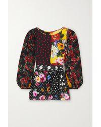 Dolce & Gabbana Belted Patchwork Silk-blend Crepe De Chine Blouse - Black