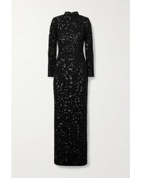Alice + Olivia Sequined Stretch-crepe Gown - Black