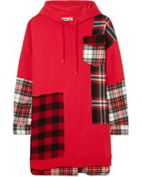 McQ - Oversized Patchwork Cotton-jersey And Checked Flannel Hooded Dress - Lyst