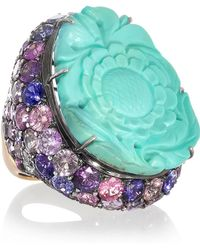 Lydia Courteille - Fille Du Ciel 18-karat Blackened White Gold, Turquoise And Sapphire Ring - Lyst