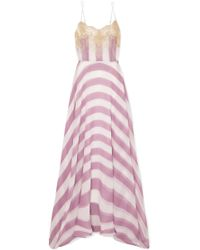 Rosamosario - Wallah, Let's Stripes Lace-trimmed Silk Nightdress - Lyst