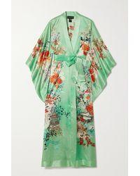 Meng Kimono En Satin De Soie À Imprimé Fleuri Et À Ceinture - Vert