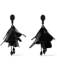 Oscar de la Renta - Large Impatiens Beaded Clip Earrings - Lyst