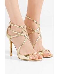 Jimmy Choo Lang Metallic Leather Sandals
