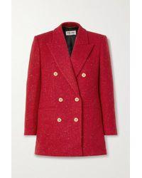 Saint Laurent Doppelreihiger Blazer Aus Woll-tweed - Rot