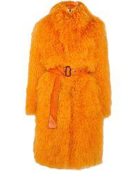 Saks Potts Rosti Belted Shearling Coat - Orange