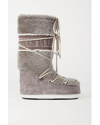 Yves Salomon X Moon Boot Shearling Snow Boots - Gray