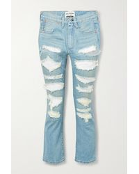 Junya Watanabe Sequined Distressed High-rise Straight-leg Jeans - Blue