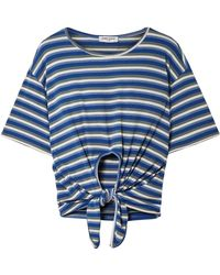 Opening Ceremony - Tie-front Striped Ribbed-knit T-shirt - Lyst