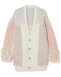 Stella McCartney - Oversized Patchwork Cotton-blend And Faux Fur Cardigan - Lyst