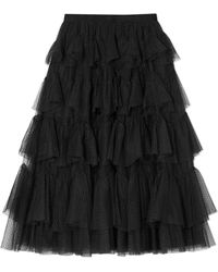 Needle & Thread - Tiered Tulle-jacquard Midi Skirt - Lyst