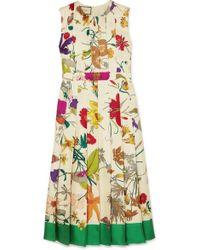 d0033add143 Gucci - Pleated Floral-print Silk Midi Dress - Lyst