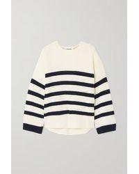 FRAME Mariner Striped Organic Cotton Jumper - White