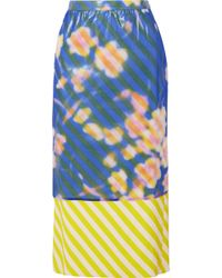 Dries Van Noten - Layered Floral-print Crinkled-organza And Striped Satin Midi Skirt - Lyst