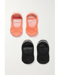 Pointe Studio Piper Set Of Two Ombré Stretch Cotton-blend Socks - Orange