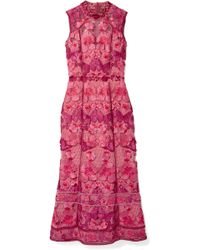 Marchesa notte - Embroidered Guipure Lace Midi Dress - Lyst