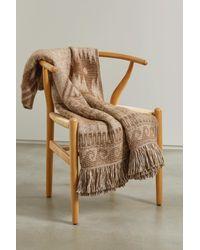Alanui Land Of Alpacas Fringed Intarsia-knit Blanket - Natural