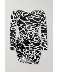 Alexandre Vauthier Ruched Printed Stretch-jersey Mini Dress - Black