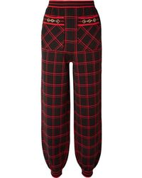 Gucci Embellished Checked Wool Track Trousers - Black