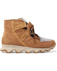 Sorel - Kinetic Waterproof Suede And Felt Ankle Boots - Lyst