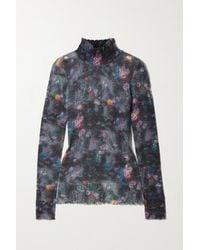 R13 - Distressed Floral-print Cashmere Turtleneck Sweater - Lyst