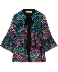 Mary Katrantzou - Milana Pussy-bow Printed Silk-georgette Shirt - Lyst