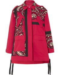 RED Valentino - Oversized Embroidered Cotton-twill Jacket - Lyst