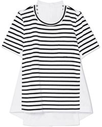 Sacai - Dixie Cotton-poplin And Striped Jersey Top - Lyst