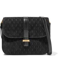 Saint Laurent - Monogramme Leather-trimmed Suede Shoulder Bag - Lyst