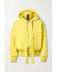 Norma Kamali Hooded Padded Velvet Jacket - Yellow