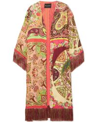 Etro - Fringed Printed Satin Robe - Lyst