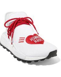 adidas Originals Pharrell Williams Human Made Nmd Hu Appliquéd Stretch-knit Sneakers - White